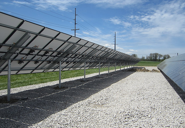 Installation of multiple rows of solar panels for solar energy project