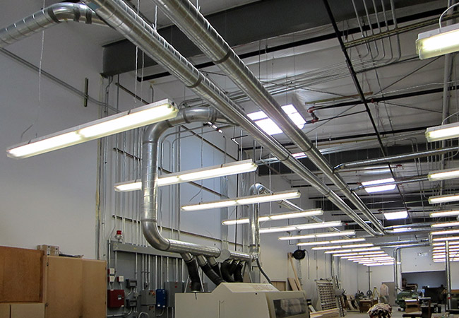 lighting and electrical system installation at industrial wood products facility
